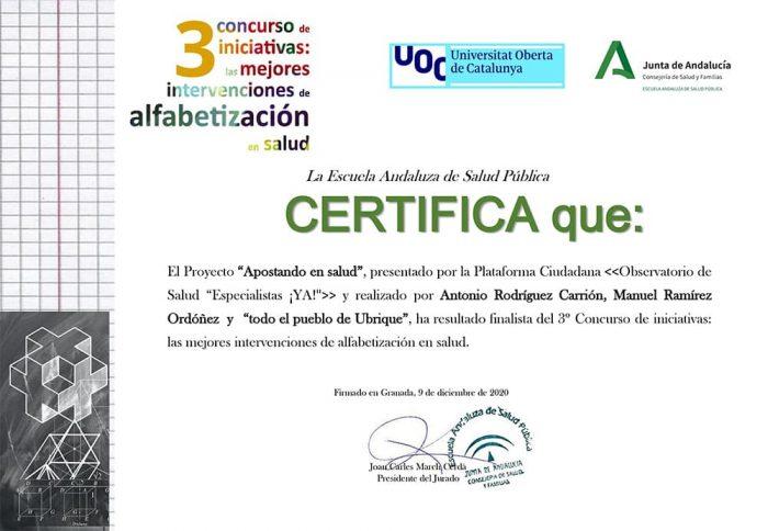 Certificado de finalista