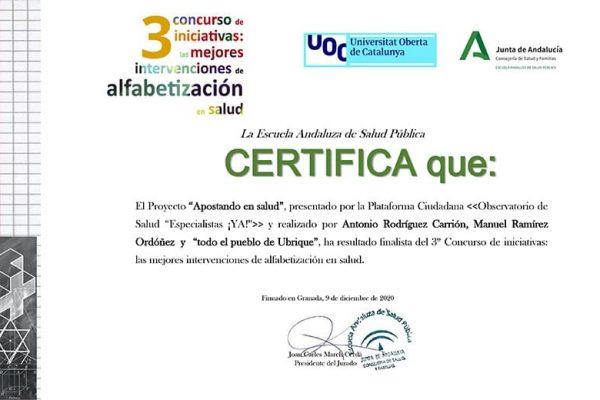Certificado de finalistas en el concurso